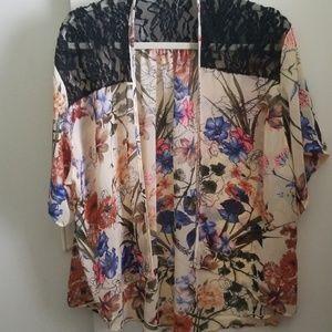 Tops - Allison Joy Floral & Lace Boho Festival Kimono os